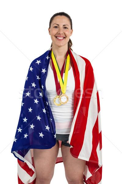 選手 ポーズ アメリカンフラグ 金 周りに ストックフォト © wavebreak_media