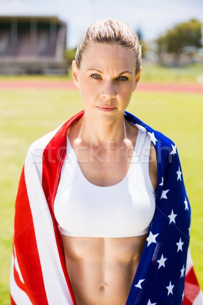 Portré női atléta amerikai zászló stadion nő Stock fotó © wavebreak_media