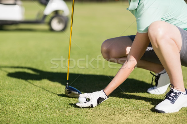 Foto d'archivio: Basso · sezione · donna · pallina · da · golf