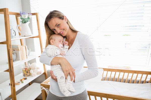 Anya tart átkarol baba fiú otthon Stock fotó © wavebreak_media