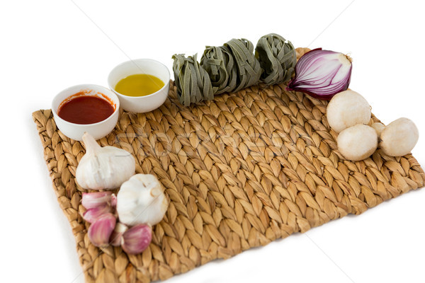 High angle view of vegetables with tagliatelle on place mat Stock photo © wavebreak_media