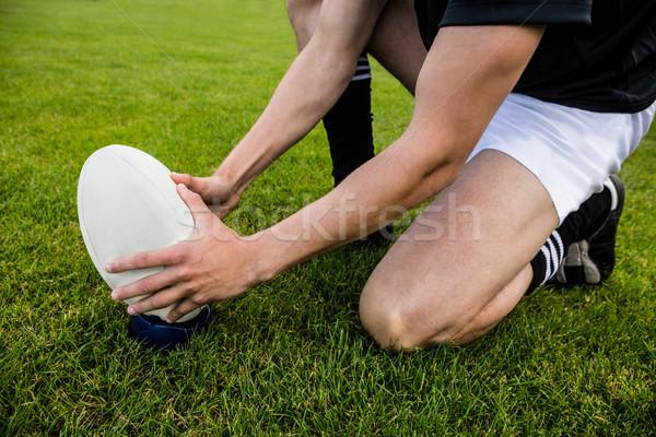 Rugby jogador para cima bola parque Foto stock © wavebreak_media