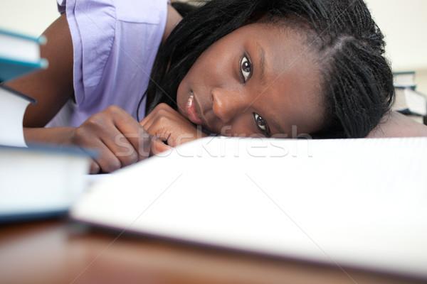 Stanco studiare home donna ragazza Foto d'archivio © wavebreak_media