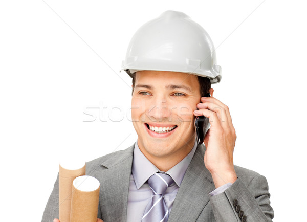 熱狂的な 男性 建築 電話 孤立した 白 ストックフォト © wavebreak_media