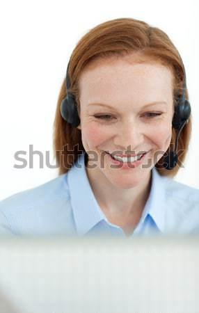Retrato sorridente mulher de negócios computador escritório internet Foto stock © wavebreak_media