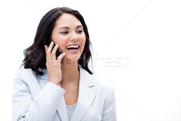 Portré lelkes üzletasszony beszél telefon iroda Stock fotó © wavebreak_media