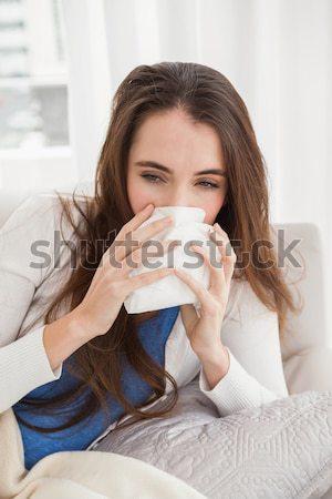 Jeunes malade femme canapé maison fille Photo stock © wavebreak_media