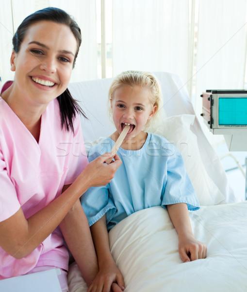 женщины врач горло больницу служба счастливым Сток-фото © wavebreak_media
