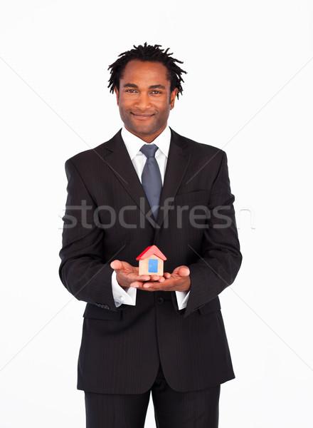 üzletember bemutat ház új ház üzlet építkezés Stock fotó © wavebreak_media