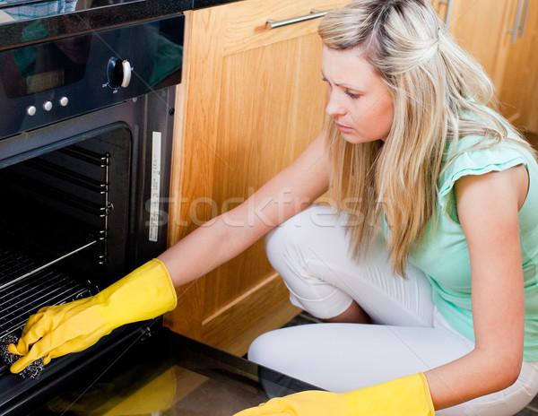 Portre güzel ev kadını temizlik mutfak kadın Stok fotoğraf © wavebreak_media
