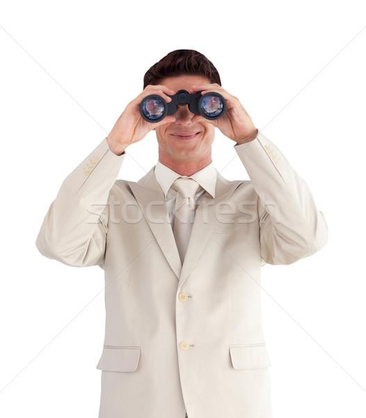 Portré aranyos üzletember látcső izolált fehér Stock fotó © wavebreak_media