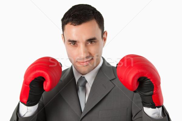 Zakenman bereid strijd witte business Stockfoto © wavebreak_media