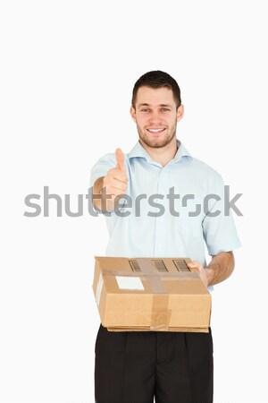 Uśmiechnięty młodych po pracownika kciuk Zdjęcia stock © wavebreak_media
