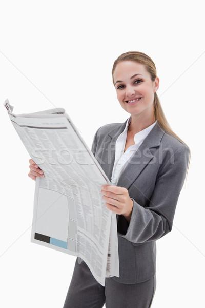Portret gelukkig zakenvrouw lezing nieuws witte Stockfoto © wavebreak_media