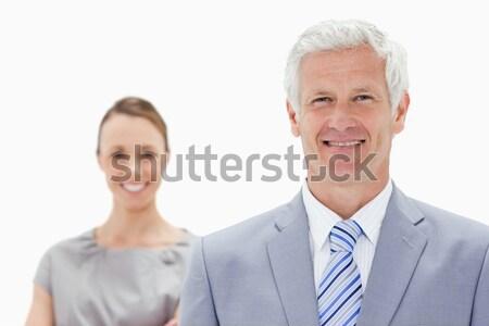 Mutlu beyaz saçlı işadamı gülümseyen arkasında Stok fotoğraf © wavebreak_media