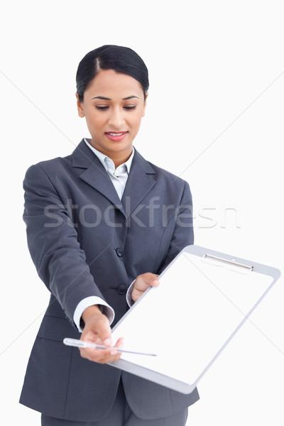 Közelkép elarusítónő kérdez aláírás fehér toll Stock fotó © wavebreak_media