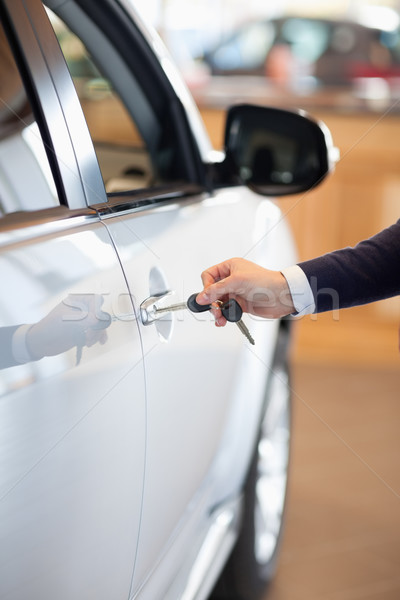 Man inserting a car key in the lock in a garage Stock photo © wavebreak_media