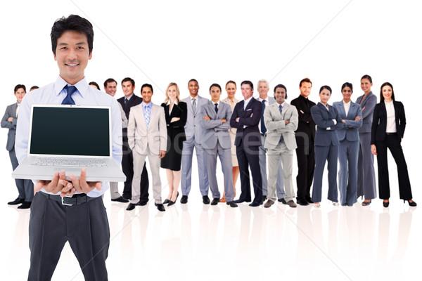 Foto stock: Empresario · portátil · blanco · hombre · gente · de · negocios