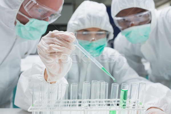 Chemist adding green liquid to test tubes as two others are watching in the lab Stock photo © wavebreak_media