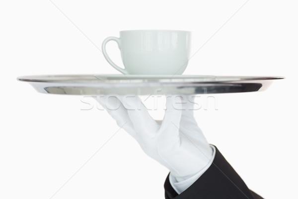 Ezüst tálca csésze kávé pincér szolgáltatás Stock fotó © wavebreak_media