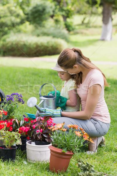 Madre figlia impegnato giardinaggio vista laterale donna Foto d'archivio © wavebreak_media
