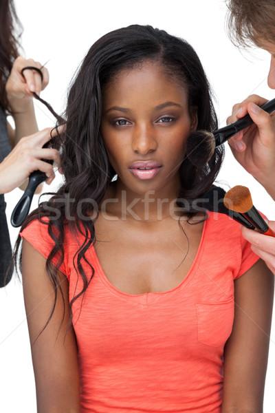 Makijaż kobiet model biały twarz Zdjęcia stock © wavebreak_media