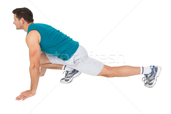 Yandan görünüş uygun adam egzersiz tam uzunlukta Stok fotoğraf © wavebreak_media