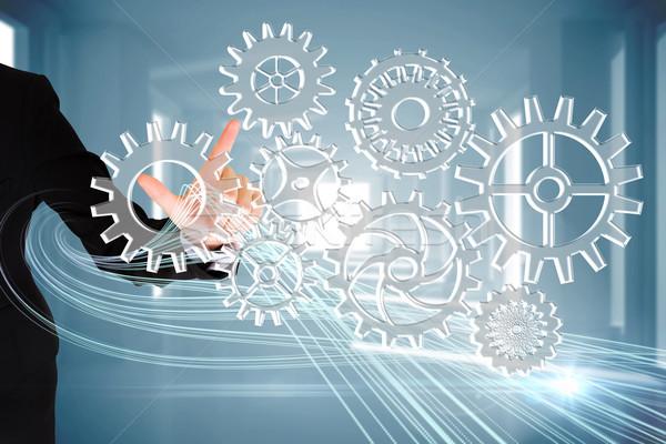 Doigt pointant roues composite numérique affaires Photo stock © wavebreak_media