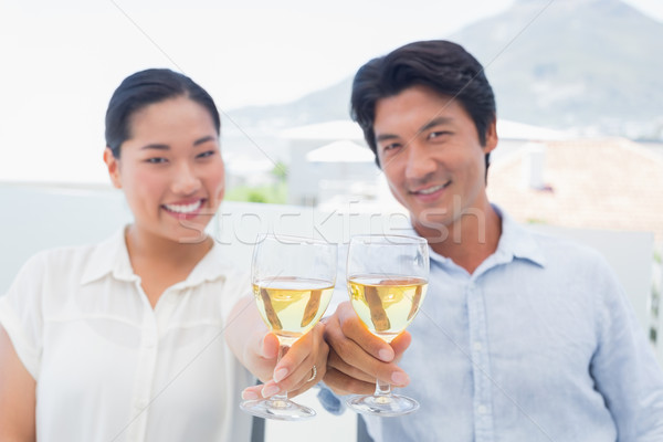 Happy couple having white wine  Stock photo © wavebreak_media