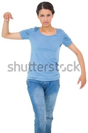 Morena jeans camiseta blanco femenino camiseta Foto stock © wavebreak_media