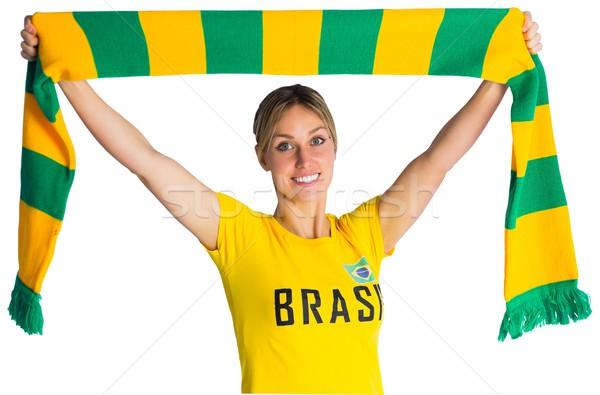 Stock fotó: Csinos · futball · ventillátor · Brazília · póló · fehér