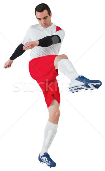 Futballista fehér rúg futball futball viselet Stock fotó © wavebreak_media