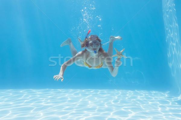 Aranyos szőke nő vízalatti úszómedence búvárpipa tengeri csillag Stock fotó © wavebreak_media