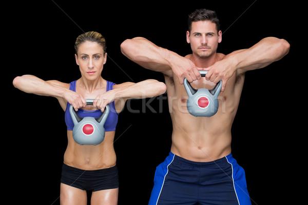 Crossfitの カップル ポーズ 女性 ボディ 健康 ストックフォト © wavebreak_media