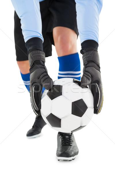 Bramkarz w górę piłka biały piłka nożna Zdjęcia stock © wavebreak_media