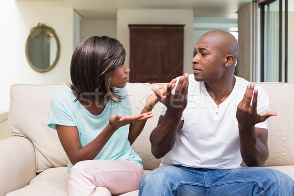 Nieszczęśliwy para argument kanapie domu salon Zdjęcia stock © wavebreak_media