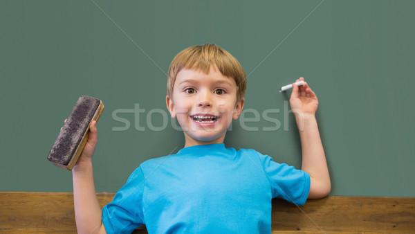 Boldog tart kréta osztályterem általános iskola iskola Stock fotó © wavebreak_media