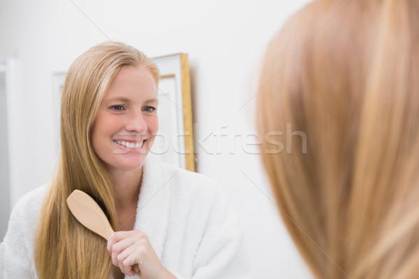 Gelukkig blond haren home badkamer huis Stockfoto © wavebreak_media