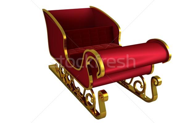 Czerwony złota Święty mikołaj sanie biały Zdjęcia stock © wavebreak_media