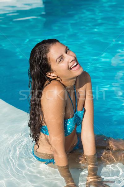 Stockfoto: Vrolijk · jonge · vrouw · zwembad · portret · gelukkig