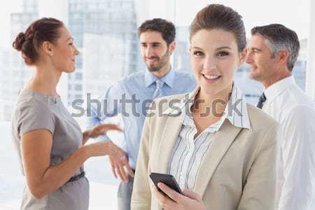 Iş çift dijital tablet arkadaşları arkasında Stok fotoğraf © wavebreak_media
