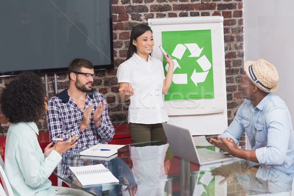 Team in meeting with recycling symbol on whiteboard Stock photo © wavebreak_media