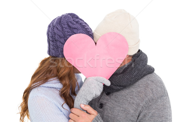 çift sıcak tutacak giysiler kalp beyaz kadın Stok fotoğraf © wavebreak_media