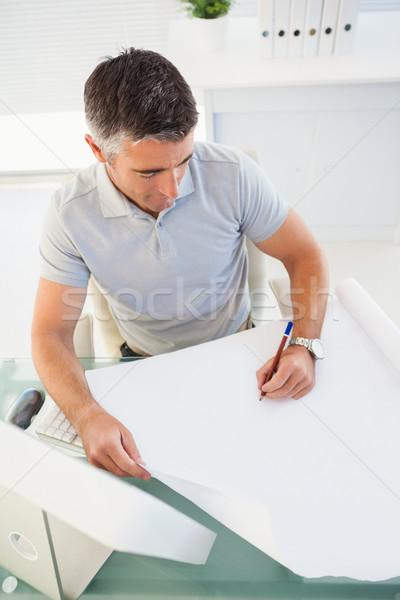 男 白髪 図面 紙 オフィス マウス ストックフォト © wavebreak_media