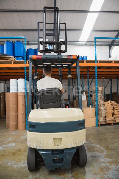 背面図 フォークリフト マシン 倉庫 ボックス 業界 ストックフォト © wavebreak_media