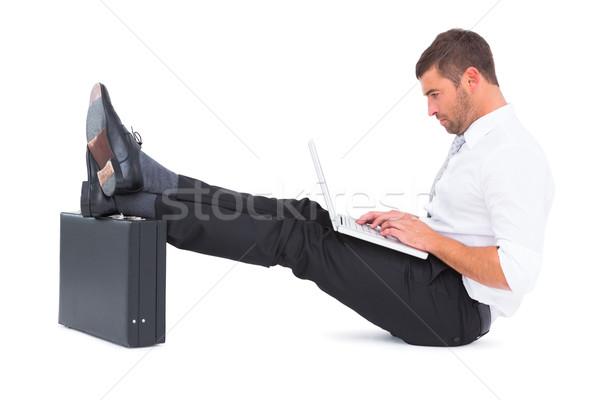 бизнесмен ног вверх портфель белый бизнеса Сток-фото © wavebreak_media