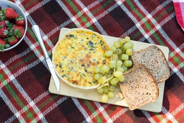 Overhead of lunch on picnic blanket Stock photo © wavebreak_media