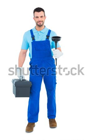 Plumber with plunger and toolbox Stock photo © wavebreak_media