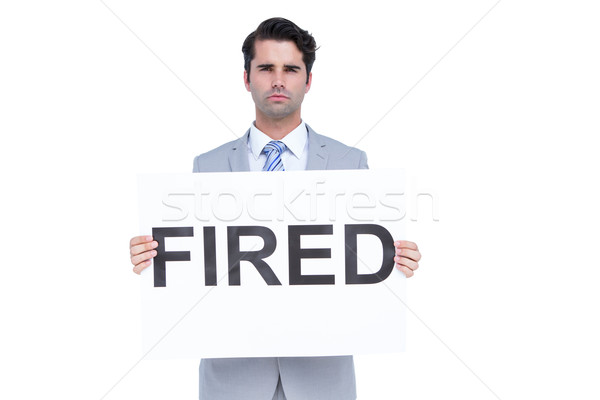 Triste affaires signe blanche homme Photo stock © wavebreak_media