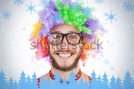 Geeky hipster in afro rainbow wig Stock photo © wavebreak_media
